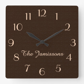 Rustic Dark Brown Faux Burlap Clock Personalized