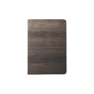 Rustic Dark brown WOOD LOOK texture Passport Holder