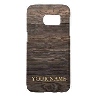 Rustic Dark brown WOOD LOOK texture personalized Samsung Galaxy S7 Case