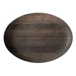 Rustic Dark brown WOOD LOOK texture Porcelain Serving Platter