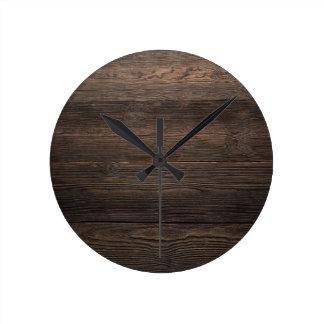 Rustic Dark brown WOOD LOOK texture Round Clock