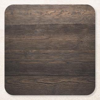 Rustic Dark brown WOOD LOOK texture Square Paper Coaster
