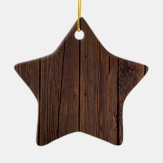 Rustic Dark Brown Wood Wooden Fence Country Style Ceramic Star Ornament