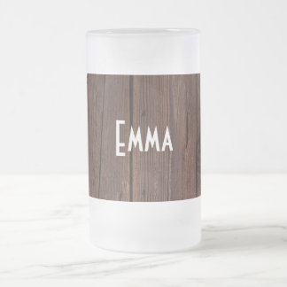 Rustic Dark Brown Wood Wooden Fence Country Style Frosted Glass Beer Mug