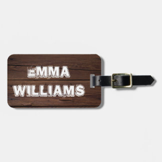 Rustic Dark Brown Wood Wooden Fence Country Style Luggage Tag