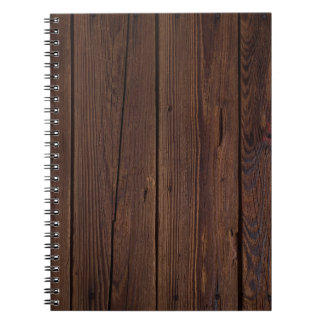 Rustic Dark Brown Wood Wooden Fence Country Style Notebooks