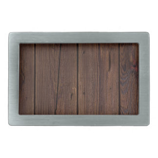 Rustic Dark Brown Wood Wooden Fence Country Style Rectangular Belt Buckle