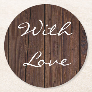 Rustic Dark Brown Wood Wooden Fence Country Style Round Paper Coaster