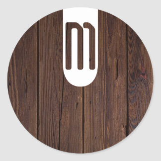 Rustic Dark Brown Wood Wooden Fence Country Style Round Sticker