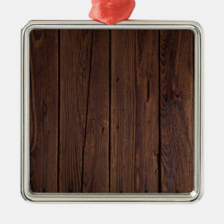 Rustic Dark Brown Wood Wooden Fence Country Style Silver-Colored Square Ornament