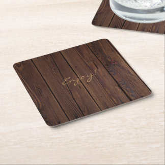 Rustic Dark Brown Wood Wooden Fence Country Style Square Paper Coaster