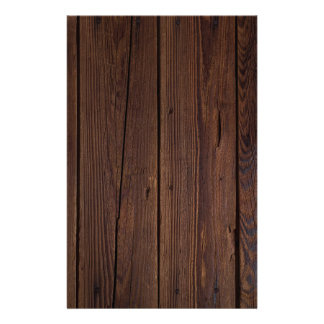 Rustic Dark Brown Wood Wooden Fence Country Style Stationery