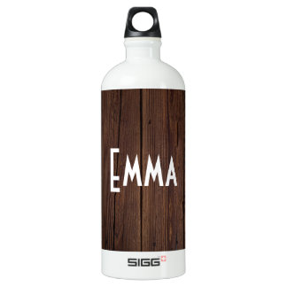 Rustic Dark Brown Wood Wooden Fence Country Style Water Bottle