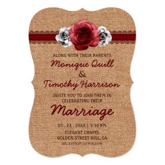 Rustic Dark Red Roses Burlap Sweet Lace Wedding Card