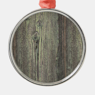 Rustic Dark Weathered Wood Background Silver-Colored Round Ornament