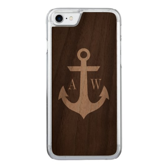 Rustic Dark Wood Anchor Monogrammed Carved iPhone 7 Case