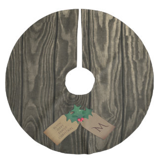 Rustic Dark Wood Hippy Christmas Tree Skirt