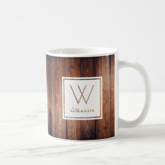 Rustic Dark Wood Planks - Personalized Classic White Coffee Mug