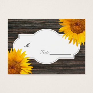 Rustic Dark Wood & Sunflower Wedding Place/Seating Business Card