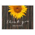 Rustic Dark Wood & Sunflower Wedding Thank You Postcard