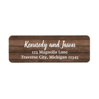Rustic Dark Wood White Address Labels