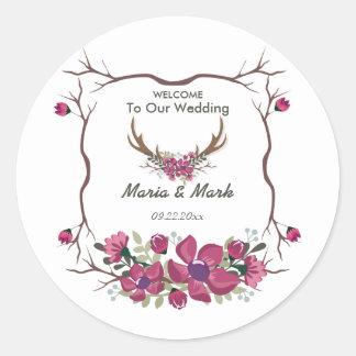 Rustic Decorative Floral Wedding Round Sticker