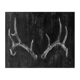 Rustic Deer Animal Head on Chalkboard Acrylic Wall Art