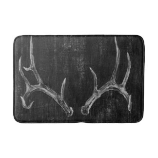 Rustic Deer Animal Head on Chalkboard Bath Mat
