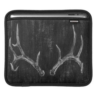 Rustic Deer Animal Head on Chalkboard iPad Sleeve