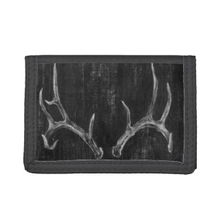 Rustic Deer Animal Head on Chalkboard Tri-fold Wallet