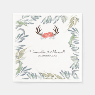 RUSTIC Deer Antler and Greenery, Peach Disposable Napkin