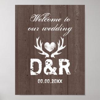 Rustic deer antler barn wood grain wedding posters