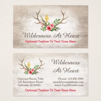 Rustic Deer Antler Bohemian Floral Watercolor Wood Business Card