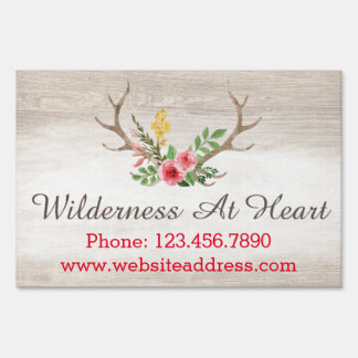 Rustic Deer Antler Bohemian Floral Watercolor Wood Sign
