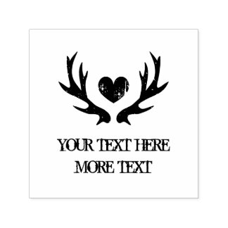 Rustic deer antler heart self inking wedding stamp