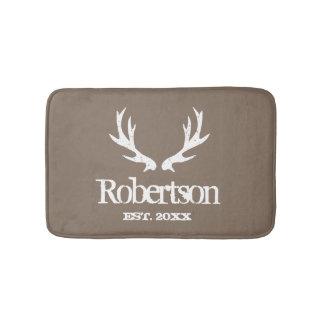 Rustic deer antler khaki beige custom bath mat