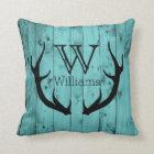 Rustic Deer Antler Teal Wood Black Monogram Throw Pillow