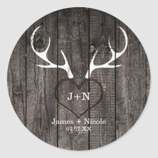 Rustic Deer Antlers & Carved Heart Wedding Favor Classic Round Sticker