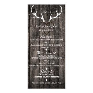 Rustic Deer Antlers & Carved Heart Wedding Menu