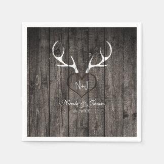 Rustic Deer Antlers & Carved Heart Wedding Napkins Disposable Napkin