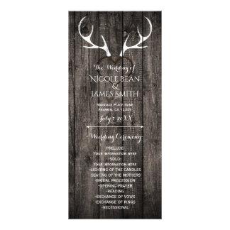 Rustic Deer Antlers & Carved Heart Wedding Program Custom Rack Cards