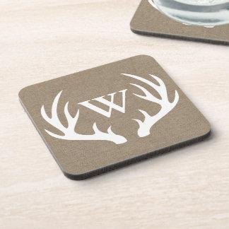 Rustic Deer Antlers Faux Burlap Family Initial Coaster