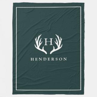 Rustic Deer Antlers Monogram Pine Green Fleece Blanket