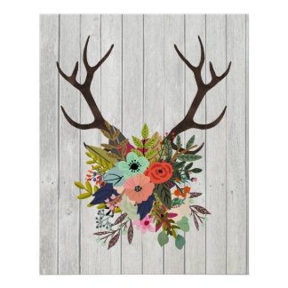 Rustic Deer Antlers with Flowers Poster