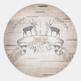 Rustic Deer & Branches Birch Wedding Favor Classic Round Sticker