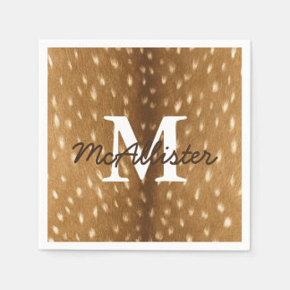 Rustic Deer Fawn Hide Personalized Paper Napkins