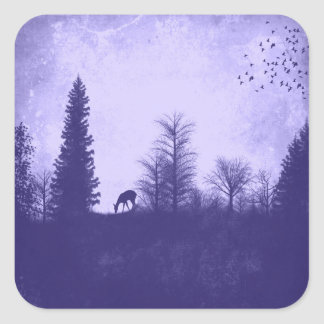 Rustic Deer in Trees Country Purple Sticker