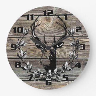 Rustic Deer Laurel leaves Old Wooden Boards Large Clock