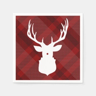 RUSTIC DEER | RED PLAID | STYLISH HOLIDAY NAPKINS DISPOSABLE NAPKINS