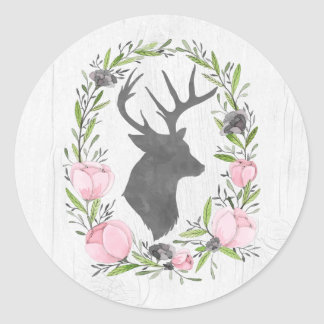 Rustic Deer Silhouette Floral Wreath Cameo on Wood Classic Round Sticker